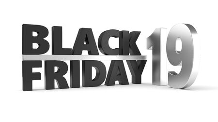 black friday of 2019 year. 3d illustration with black and steel materials. isolated on white Фото со стока