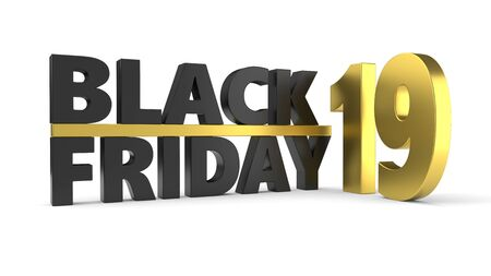 black friday of 2019 year. 3d illustration with black and golden materials. isolated on white Stock Illustration - 129318742