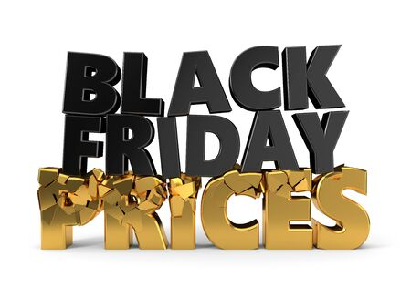 black friday text breaks prices. black and golden text isolated on white. 3d illustration