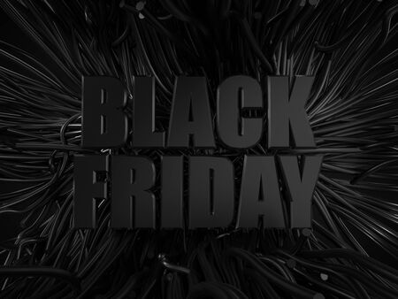 black friday text with black tentacles on background. dark themed 3d illustration.