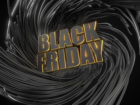 black friday text with golden edges on black tentacles background. dark themed 3d illustration.