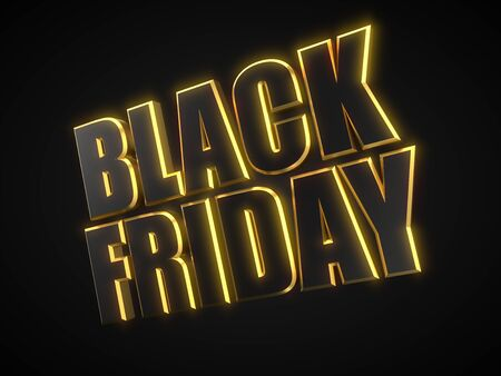 black friday text with black and golden parts. 3d illustration Фото со стока