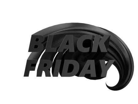 black friday with long text body. text rises from background to front. 3d illustration