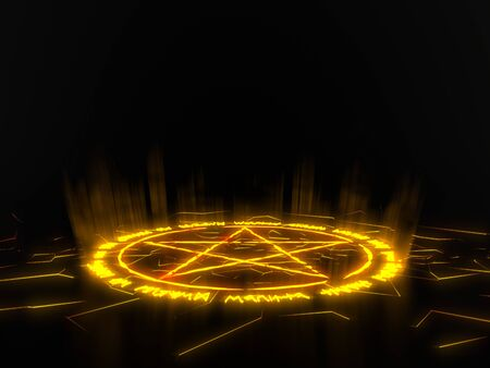 summon circle with pentagram on center. runic words for calling demons. yellow glowing details in dark. 3d illustration Фото со стока