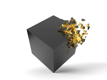 exploding black cube with gold inside. 3d illustration. isolated on white. Banco de Imagens