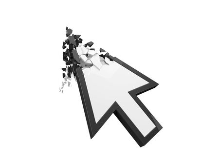 breaking white simple cursor. internet error and sanction concept. 3d illustration. suitable for internet, computer and technology themes. Фото со стока
