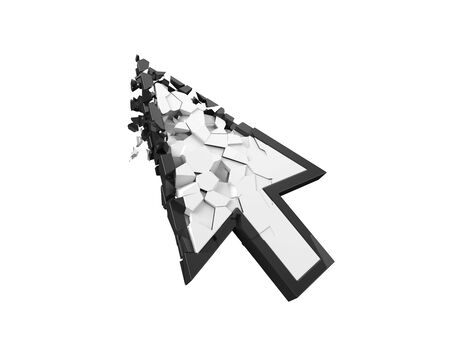 fully breaking white simple cursor. internet error and sanction concept. 3d illustration. suitable for internet, computer and technology themes. 3d illustration