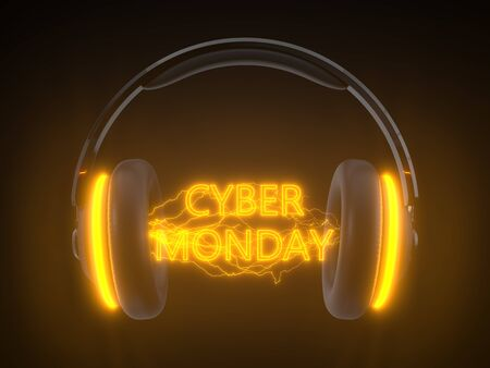 cyber monday concept with headset. orange neon text into electric arcs. headset sound waves and energy arcs. 3d illustration Фото со стока