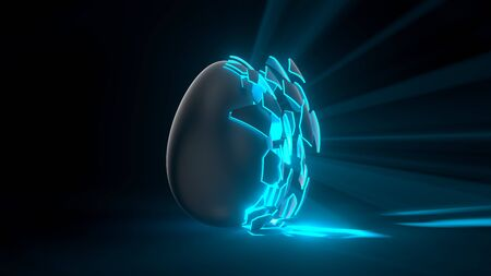 easter egg. alien egg with blue glowing cracks and light rays. suitable for easter, alien and energy themes. 3d illustration