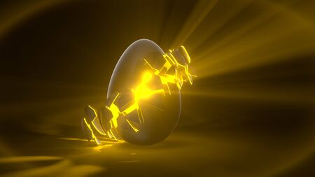 easter egg. alien egg with yellow glowing cracks and light rays. suitable for easter, alien and energy themes. 3d illustration