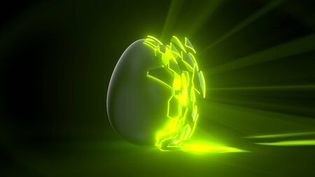 easter egg. alien egg with green glowing cracks and light rays. suitable for easter, alien and energy themes. 3d illustration