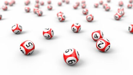 red lottery balls stack.isolated on white. random colored balls. 3d illustration