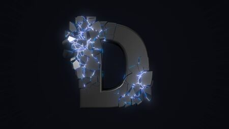 strangely cracked D letter. technological and mystical look with glowing inside details. suitable for technology and alphabetical themes. 3d illustration Stock fotó
