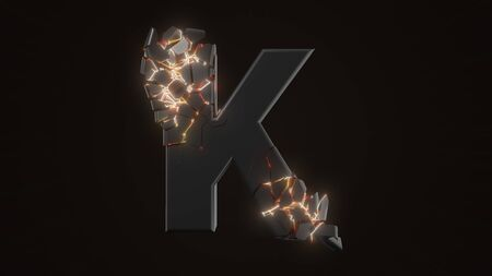 strangely cracked K letter. technological and mystical look with glowing inside details. suitable for technology and alphabetical themes. 3d illustration Stock fotó