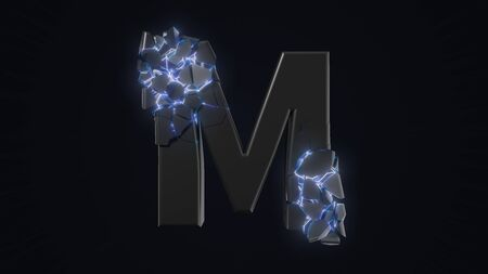 strangely cracked M letter. technological and mystical look with glowing inside details. suitable for technology and alphabetical themes. 3d illustration