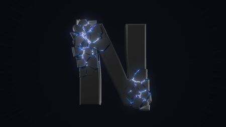 strangely cracked N letter. technological and mystical look with glowing inside details. suitable for technology and alphabetical themes. 3d illustration