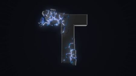 strangely cracked T letter. technological and mystical look with glowing inside details. suitable for technology and alphabetical themes. 3d illustration