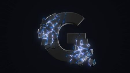 strangely cracked G letter. technological and mystical look with glowing inside details. suitable for technology and alphabetical themes. 3d illustration Stock fotó