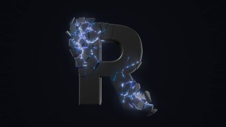 strangely cracked R letter. technological and mystical look with glowing inside details. suitable for technology and alphabetical themes. 3d illustration