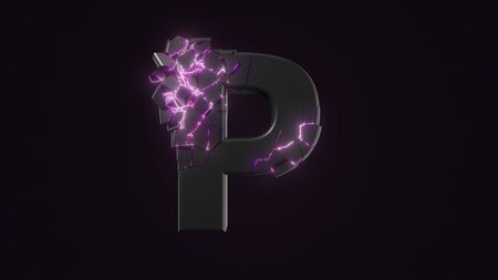 strangely cracked P letter. technological and mystical look with glowing inside details. suitable for technology and alphabetical themes. 3d illustration