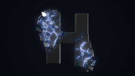 strangely cracked H letter. technological and mystical look with glowing inside details. suitable for technology and alphabetical themes. 3d illustration