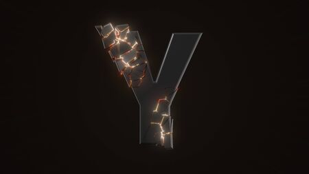 strangely cracked Y letter. technological and mystical look with glowing inside details. suitable for technology and alphabetical themes. 3d illustration