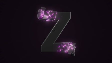 strangely cracked Z letter. technological and mystical look with glowing inside details. suitable for technology and alphabetical themes. 3d illustration