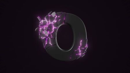 strangely cracked O letter. technological and mystical look with glowing inside details. suitable for technology and alphabetical themes. 3d illustration