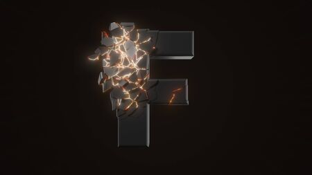 strangely cracked F letter. technological and mystical look with glowing inside details. suitable for technology and alphabetical themes. 3d illustration