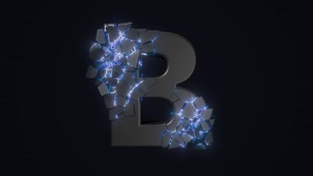 strangely cracked B letter. technological and mystical look with glowing inside details. suitable for technology and alphabetical themes. 3d illustration Stock fotó