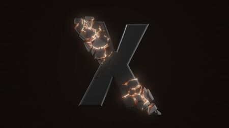 strangely cracked X letter. technological and mystical look with glowing inside details. suitable for technology and alphabetical themes. 3d illustration