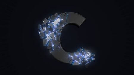 strangely cracked C letter. technological and mystical look with glowing inside details. suitable for technology and alphabetical themes. 3d illustration Stock fotó