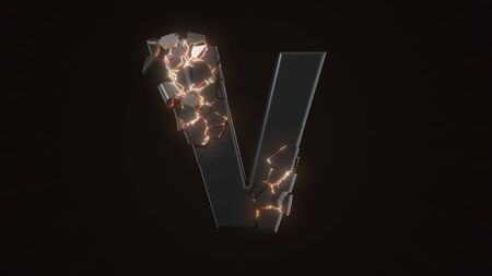strangely cracked V letter. technological and mystical look with glowing inside details. suitable for technology and alphabetical themes. 3d illustration