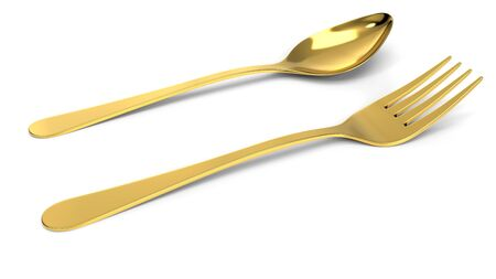 golden fork and spoon. 3d illustration, isolated on white 写真素材