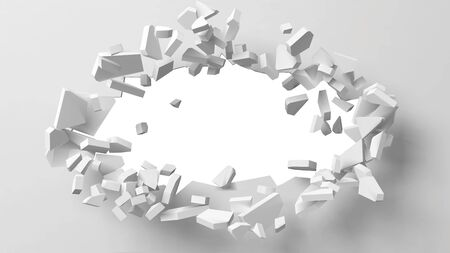 vector illustration of exploding wall with free area on center for any object or background. suitable for any logo, object or background revealing situation for banner, ad or other way usages. Ilustrace