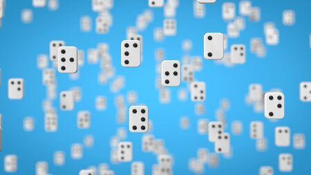 braille alphabet on blue background. white letter chips with black dots. 3d illustration