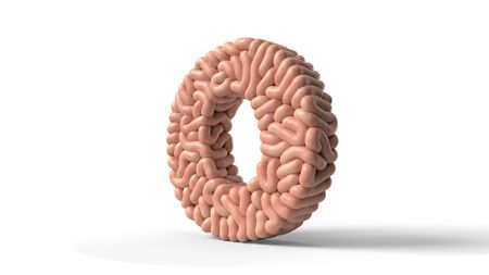 human brain in shape of letter O. suitable for brain, biology, medicine, science and font themes. 3D illustration Banco de Imagens