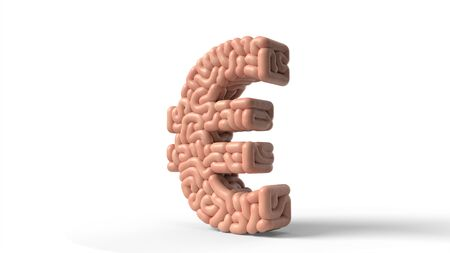 human brain in shape of euro sign A. suitable for brain, biology, medicine, science and font themes. 3D illustration Stock fotó