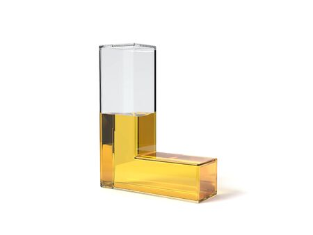 letter L shaped glass half filled with yellow liquid. suitable for fuel, oil, honey and any other liquid themes. 3d illustration