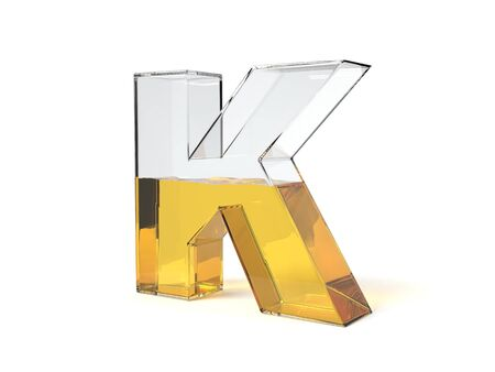 letter K shaped glass half filled with yellow liquid. suitable for fuel, oil, honey and any other liquid themes. 3d illustration