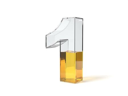 Number 1 shaped glass half filled with yellow liquid. suitable for fuel, oil, honey and any other liquid themes. 3d illustration