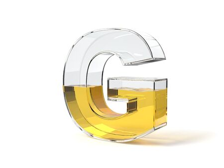letter G shaped glass half filled with yellow liquid. suitable for fuel, oil, honey and any other liquid themes. 3d illustration