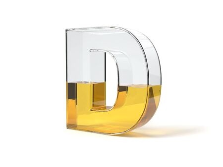letter D shaped glass half filled with yellow liquid. suitable for fuel, oil, honey and any other liquid themes. 3d illustration