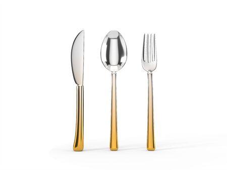 fork, knife and spoon set. 3d illustration of silver-gold kitchenware