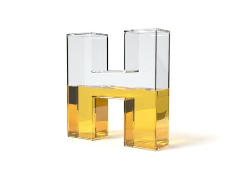 letter H shaped glass half filled with yellow liquid. suitable for fuel, oil, honey and any other liquid themes. 3d illustration Zdjęcie Seryjne