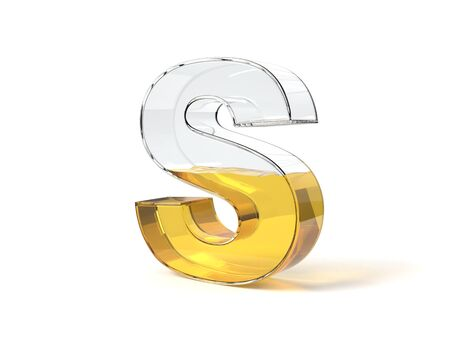 letter S shaped glass half filled with yellow liquid. suitable for fuel, oil, honey and any other liquid themes. 3d illustration Zdjęcie Seryjne