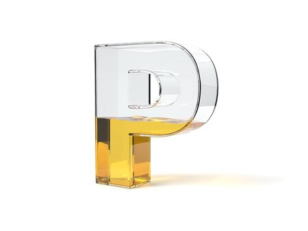 letter P shaped glass half filled with yellow liquid. suitable for fuel, oil, honey and any other liquid themes. 3d illustration