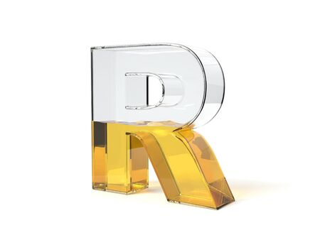 letter R shaped glass half filled with yellow liquid. suitable for fuel, oil, honey and any other liquid themes. 3d illustration