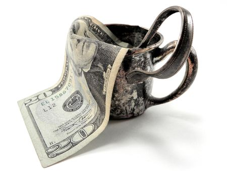 Silver Cup and Spoon with Money