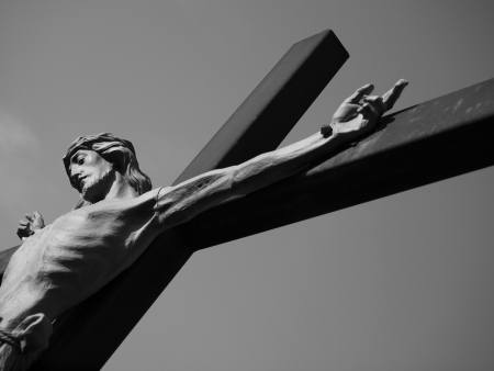 piety: Jesus Christ on Cross; Black and White